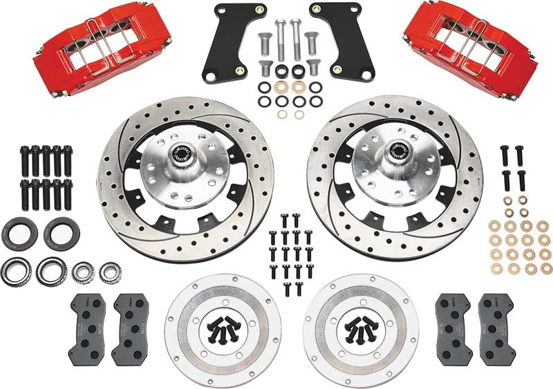 1964-74 Dynapro 6 Big Front Brake Set with Drilled Rotors, Red Calipers for Disc/Drum Spindles