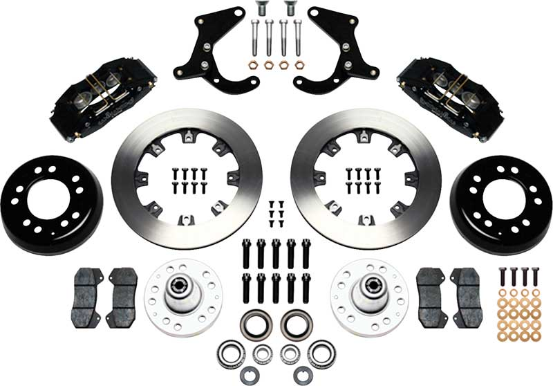 1955-57 Dynapro 6 Front Big Brake Set with Black Powder Coated Calipers and 12.19 Plain Rotors