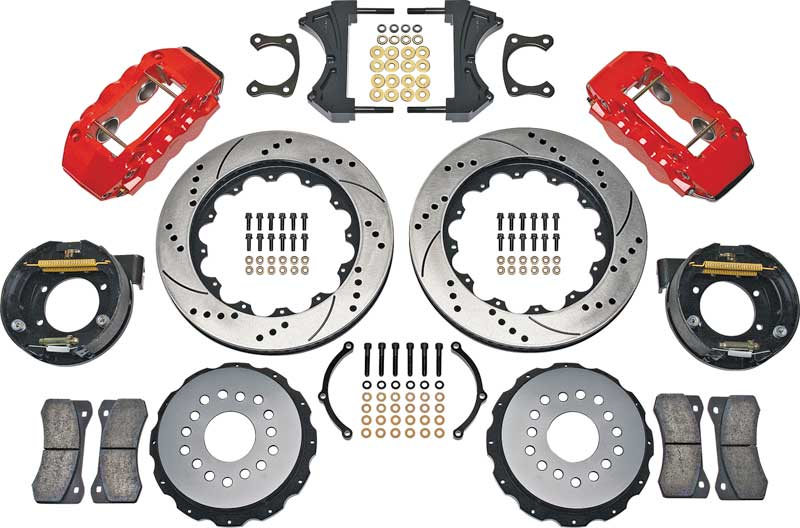 1967-69 F-Body; 68-74 X-Body 14 Rear Big Brake Set with Red Calipers and Drilled and Slotted Rotors