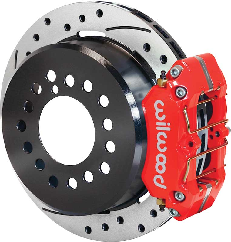 Wilwood Dynapro 11 Rear Disc Brake Set With Park Brake & Red Calipers - 9 Big Ford New Style