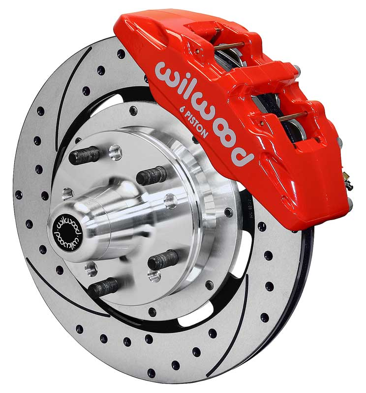 1979-87 Regal Dynapro 6 Front Brake Set with 12.19 Drilled Rotors and Red 6-Piston Calipers