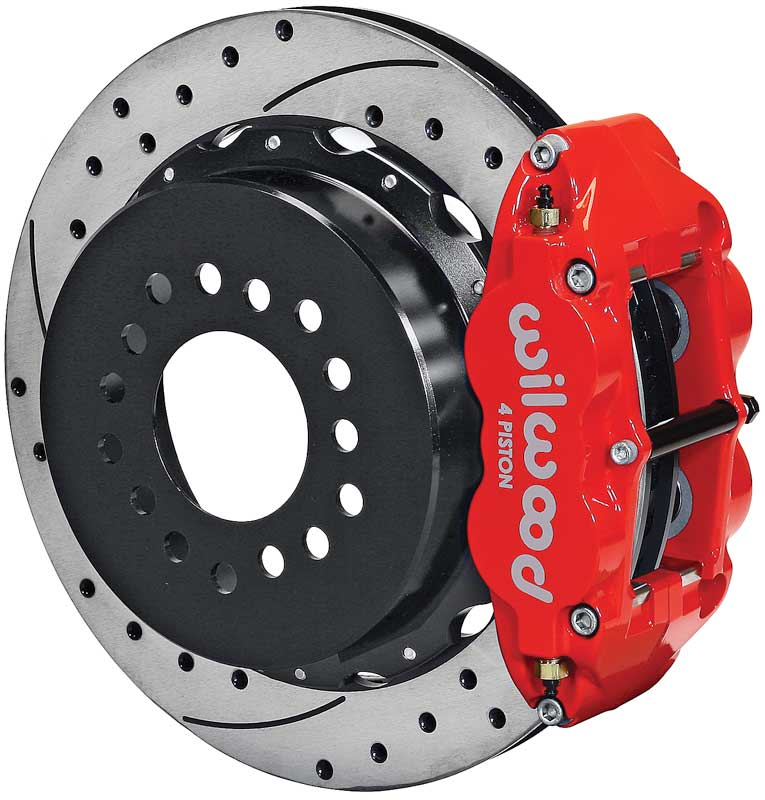 1962-81 Superlite 4R Big Rear Brakes with Parking Brake 13 Drilled and Slotted Rotors, Red Calipers