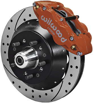 1964-74 Superlite 6 Front Big Brake Disc Set with 13 Drilled Rotors, Red Calipers for OE Spindles