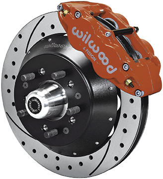 1964-74 Superlite 6 Front Big Brake Disc Set with 14 Drilled Rotors, Red Calipers for OE Spindles