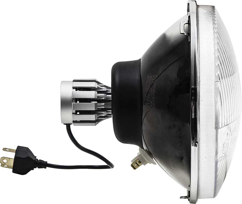 7 LED Headlamp With Classic Convex Lens And White Blinker