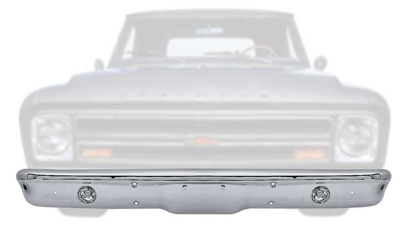 1967-70 Chevy Truck; 1967-68 GMC Truck Chrome Front Bumper with Fog Lamps