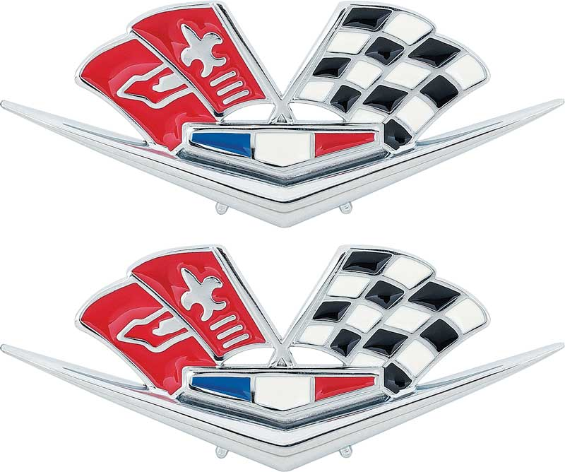 1958 1959 1960 Corvette Front Fender X-Flag Emblem Pair Made in the USA