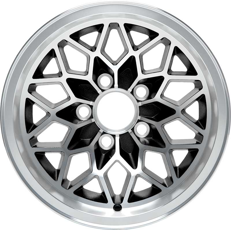 1967-1981 All Makes All Models Parts | 251793 | 1967-81 17 X 9 Cast  Aluminum Snowflake Wheel with Black accents | Classic Industries