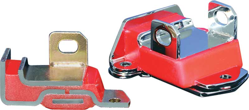 GM Early Style Short and Wide Red Polyurethane Engine Mount with Zinc Finish