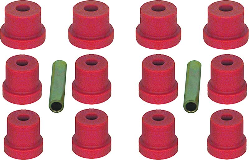 1967-69 Camaro / Firebird with Multi Leaf Red Polyurethane Leaf Spring Bushing Set