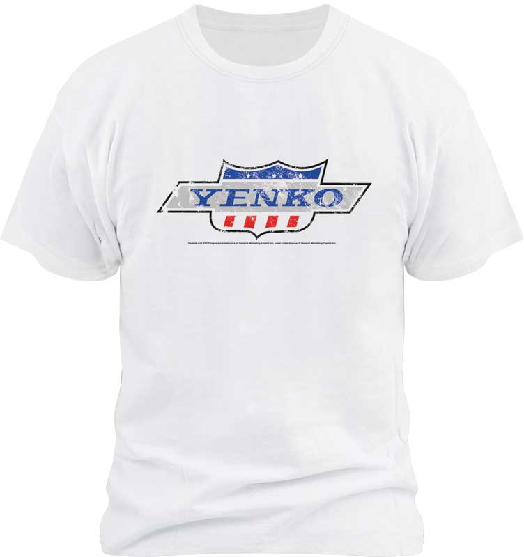 Large White Distressed Look Yenko T-Shirt with Color Logo