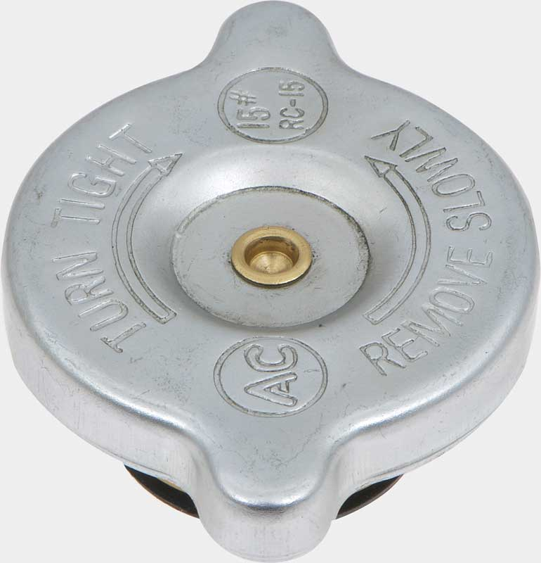 1965-70 GM Radiator Cap; 15 lbs; RC-15 with Hollow Rivet Design; Show Quality Reproduction