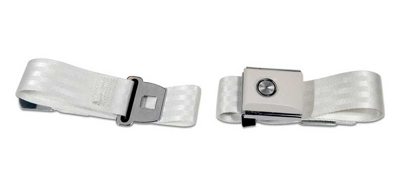 1964-1973 All Makes All Models Parts | 46-3231L | 1964-73 Mustang OE Style  Push Button Seat Belt - White | Classic Industries