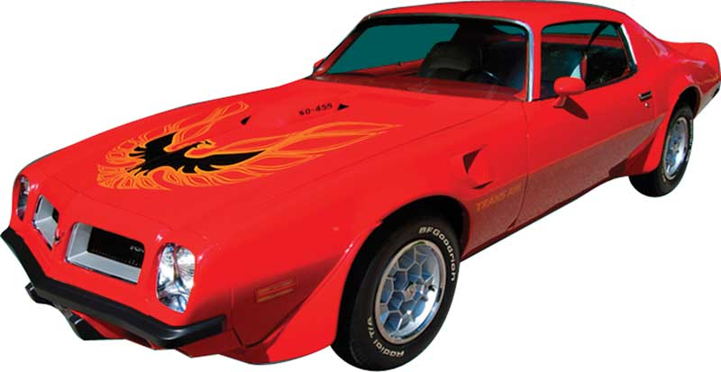 1975-78 Trans-Am Black Center with Red / Charcoal Hood Bird Decal