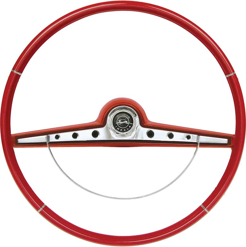1963 Impala / SS Red Steering Wheel With Horn Ring