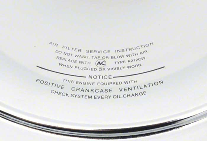 1966-69 Open Element Air Cleaner with Curved Imprint On Lid
