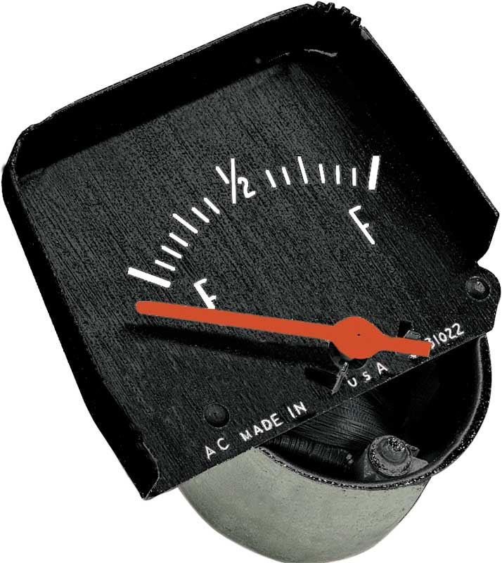 1968-76 Black Console Fuel Gauge