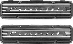 1955-59 Chevy Small Block Black Finish Staggered Bolt Chevrolet Script Aluminum Valve Covers