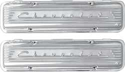 1955-59 Chevy Small Block Polished Finish Staggered Bolt Chevrolet Script Aluminum Valve Covers