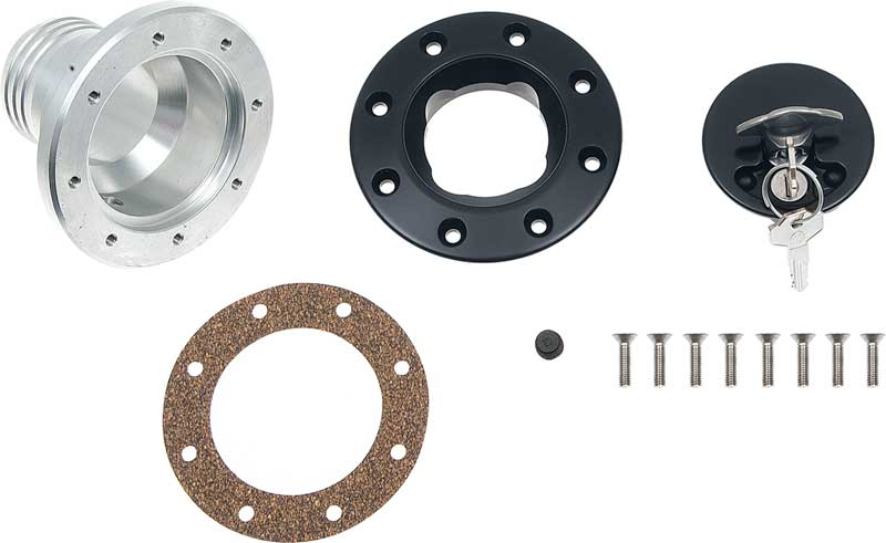 Ridetech Billet Aluminum Fuel Filler Assembly (Universal Fit) - With Black Anodized Finish