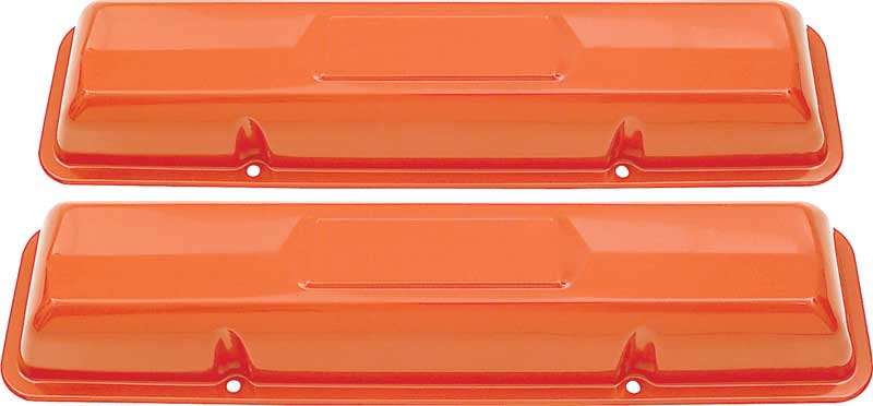 SB Chevy SBC Orange Coated Steel Tall Valve Covers Small Block Chevy 283 327 350