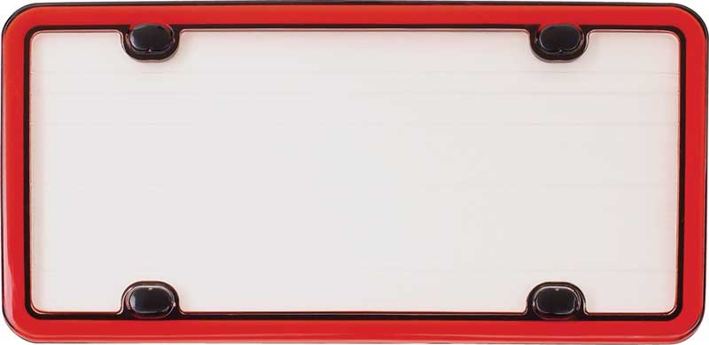 a403 red license plate frame with clear lens and 4 mounting holes