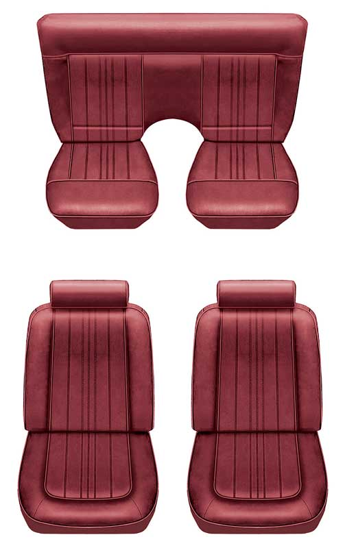 1966 All Makes All Models Parts | A4125588 | 1978 Mustang II Standard  Bucket Seat Upholstery Set - Vertical Pleat Design - Dark Red/Scarlet Red  Vinyl ...