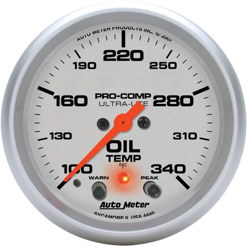 C2 Redline Oil Temperature Gauge Black Bezel