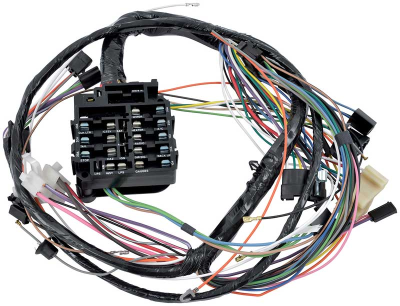 cg85026 - 1968 impala / full size with floor shift auto trans, factory  gauges and ac underdash wiring harness
