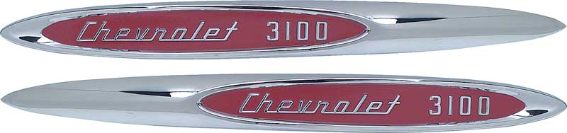 """1957 Pick Up Pickup Truck /"""" Chevrolet 3100 /"""" Fender Emblem Made in the USA Pair"""