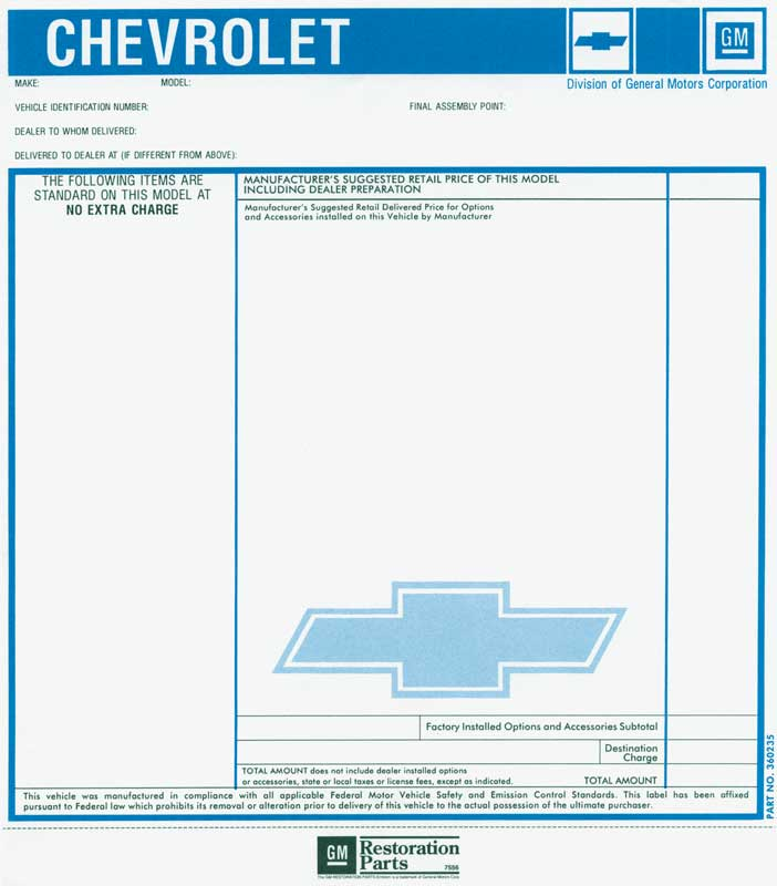 1977 Chevrolet Truck Parts Emblems And Decals