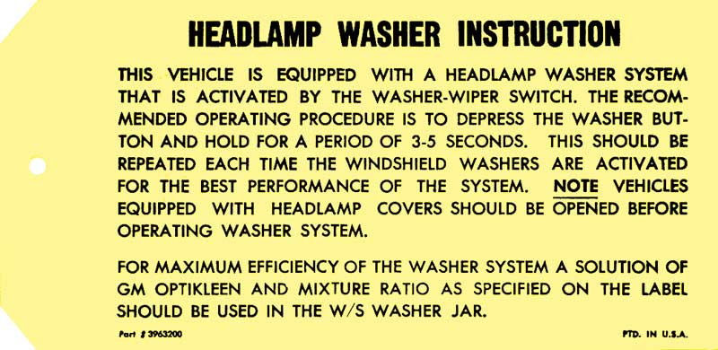 1969 Chevrolet Camaro Parts | DC407 | 1967-69 Headlight Washer Instruction  Tag | Classic Industries
