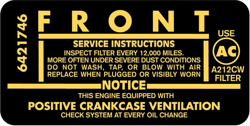 1962 1963 1964 1965 CHEVROLET 283 ENGINE 195HP AIR CLEANER INSTRUCTIONS DECAL