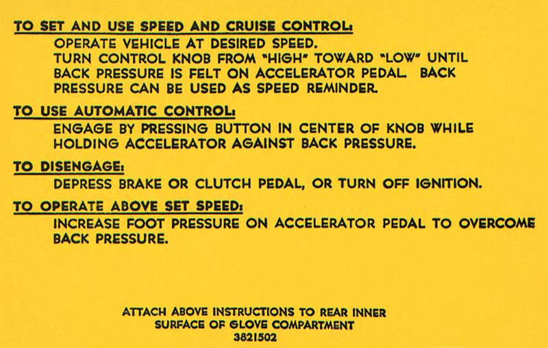 1969 Chevrolet Nova Parts | DC545 | 1967-69 Cruise Control Instruction  Decal | Classic Industries