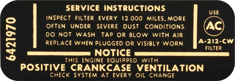 1956 MERCURY OR LINCOLN AIR CLEANER BASE SERVICE INSTRUCTIONS DECAL STICKER NEW