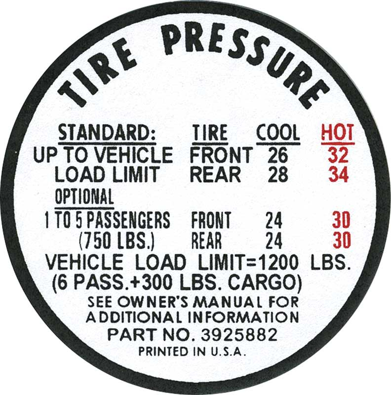 1967 CHEVROLET CHEVY II NOVA SS DOOR TIRE PRESSURE DECAL EARLY PRODUCTION