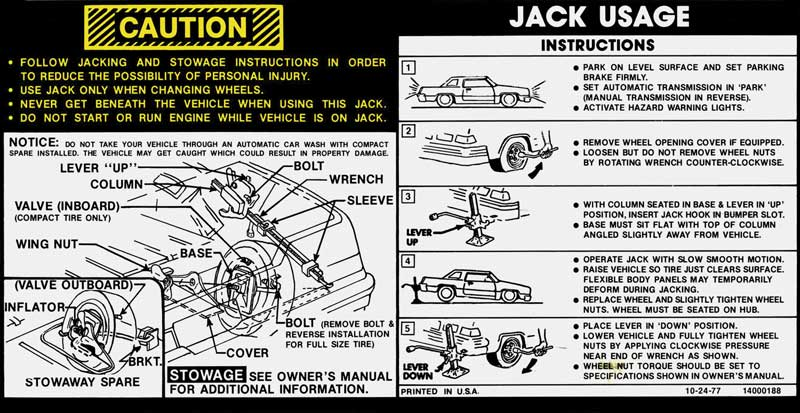 1978 All Makes All Models Parts | DC829 | GM Jack Instructions Decal  OE#14000188 | Classic Industries