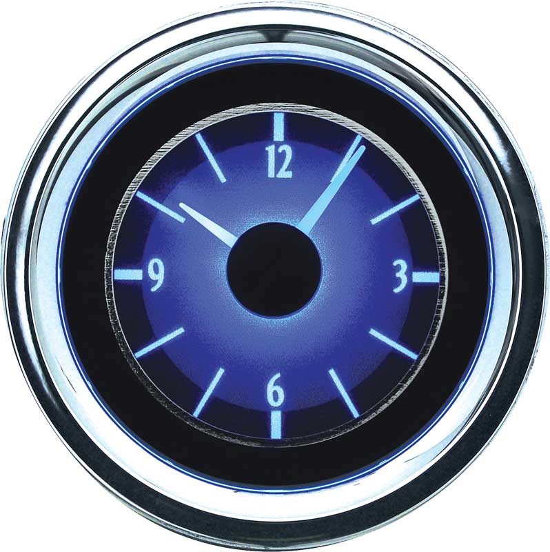 1955-1956 All Makes All Models Parts | DD56621 | 1955-56 Chevrolet VLC  Series Analog Clock with Silver Alloy Face and Blue Illumination | Classic