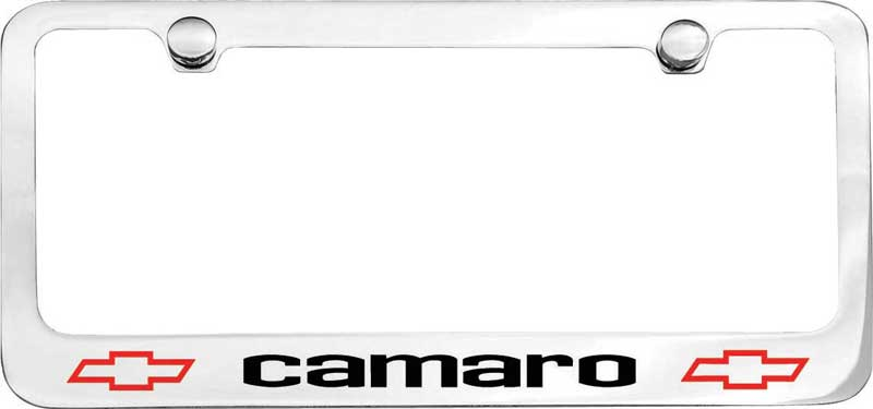 e1903a 1967 camaro with bow tie engraved logo chrome license plate frame