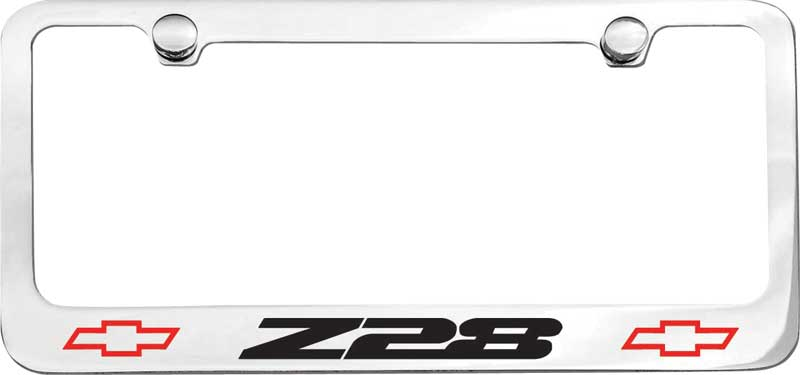 e1903k 3rd gen z28 with bow tie engraved logo chrome license plate frame
