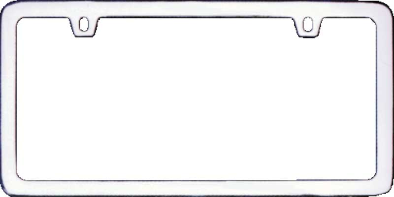 chrome thin border license plate frame with 2 hole top mount