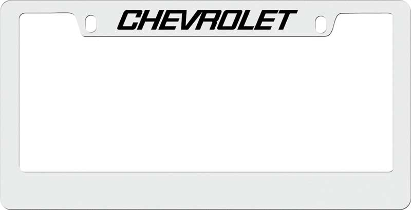 engraved chrome license plate frame with chevrolet block lettering on top