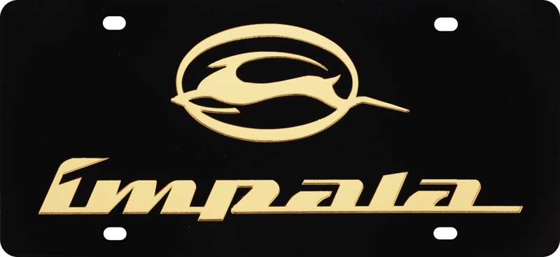 Chevrolet Impala Gold Logo On Polished Stainless Steel License Plate