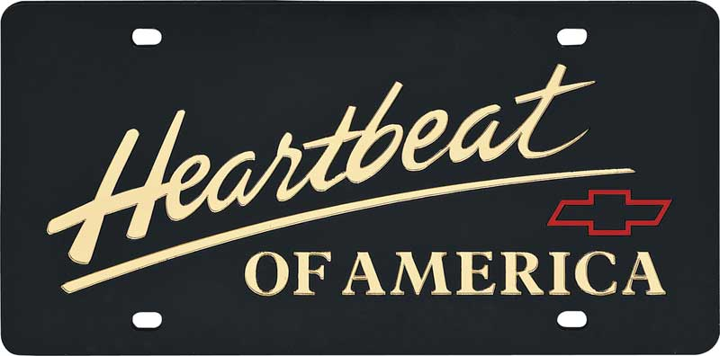 Chevy Heartbeat Of America Words /& Red Bowtie Logo /& Name On Polished License Plate