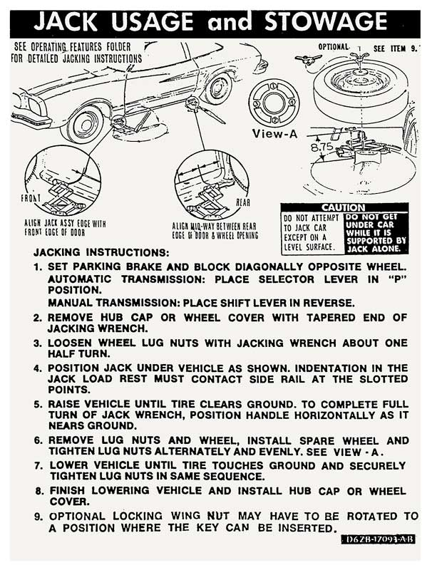 1975 1976 1977 1978 FORD F100 F250 F350 ECONOLINE JACK INSTRUCTIONS DECAL NEW