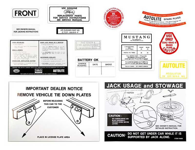1968 FORD MUSTANG DECAL TAG STICKER RESTO KIT
