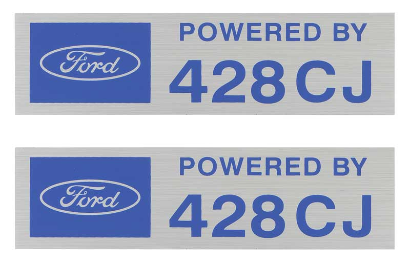 FORD POWERED BY 427 VALVE COVER DECALS NEW PAIR BLUE SILVER MUSTANG COBRA FAIRLA