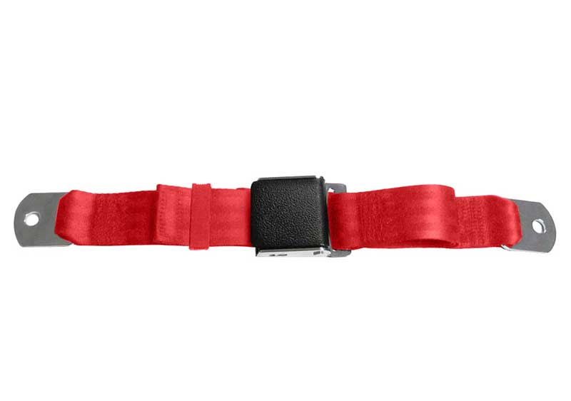 BRIGHT RED 1964-1973 Mustang Falcon Push button Seat belt Kit