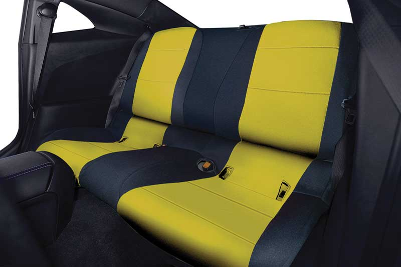 2015 Chevrolet Camaro Parts | GF882032 | 2011-15 Camaro Convertible -  CR-Grade Neoprene Rear Seat Cover - Black / Yellow (1 pc) | Classic  Industries
