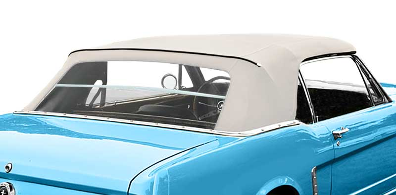 1964 Ford Mustang Parts | GL304WHITE | 1967-70 Mustang Convertible Top  Folding Glass Window With White Single Texture Trim | Classic Industries